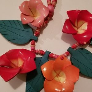 Handmade Wooden Floral and beaded Necklace